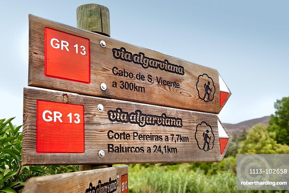 Signpost, hiking trail Via Algarvina, Algarve, Portugal