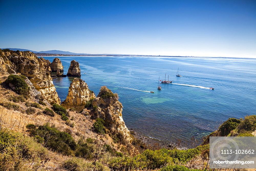 Ponta de Piedade, Rocky coastline, Lagos, Algarve, Portugal