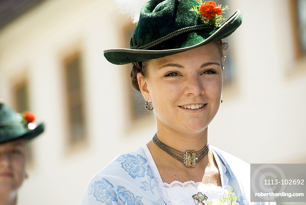Woman wearing traditional clothes, traditional procession, Garmisch-Partenkirchen, Bavaria, Germany