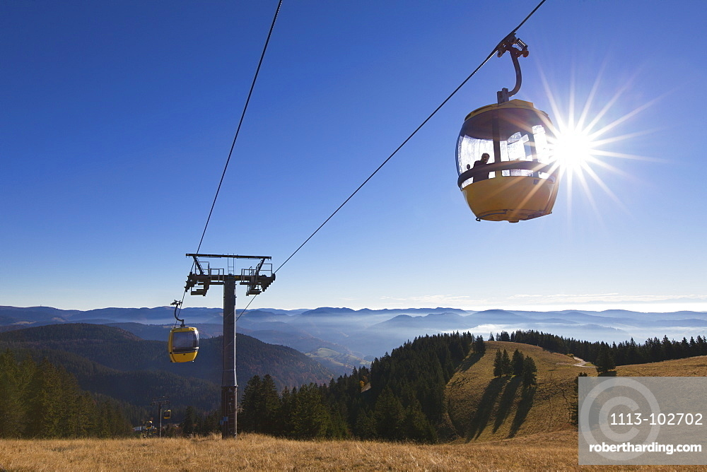 Passenger in a cable car to Belchen, Black Forest, Baden-Wuerttemberg, Germany