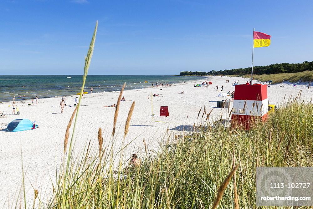 Balka Beach, popular bay with sandy beach, summer, Baltic sea, Bornholm, near Snogebaek, Denmark, Europe