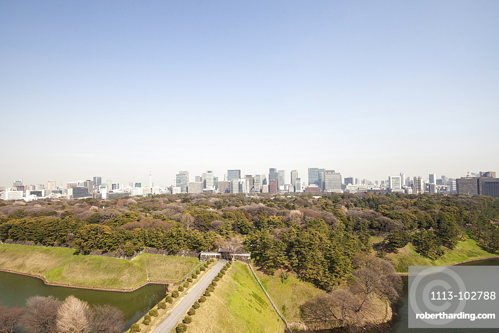 Imperial Palace Ground with banking quarter Marunouchi in background, Chiyoda-ku, Tokyo, Japan