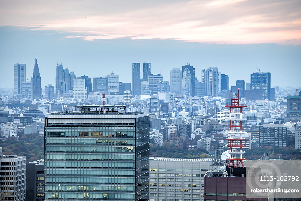 City view towards Shinjuku from Mandarin Oriental, Nihonbashi, Tokyo, Japan