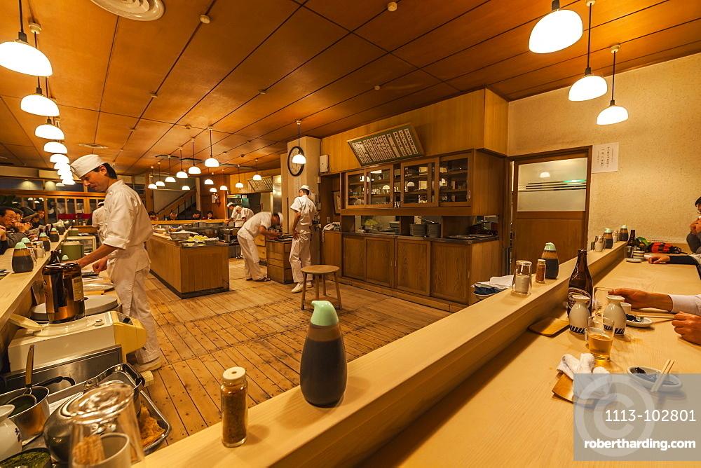 Interior of famous Tonkatsu Restaurant Tonki in Meguro, Minato-ku, Tokyo, Japan