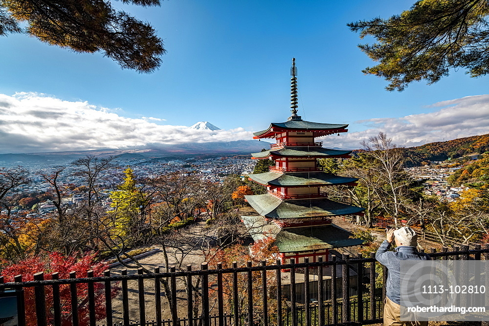 Mt. Fuji and Chureito Pagoda photographed by old men, Fujiyoshida, Yamanashi Prefecture, Japan