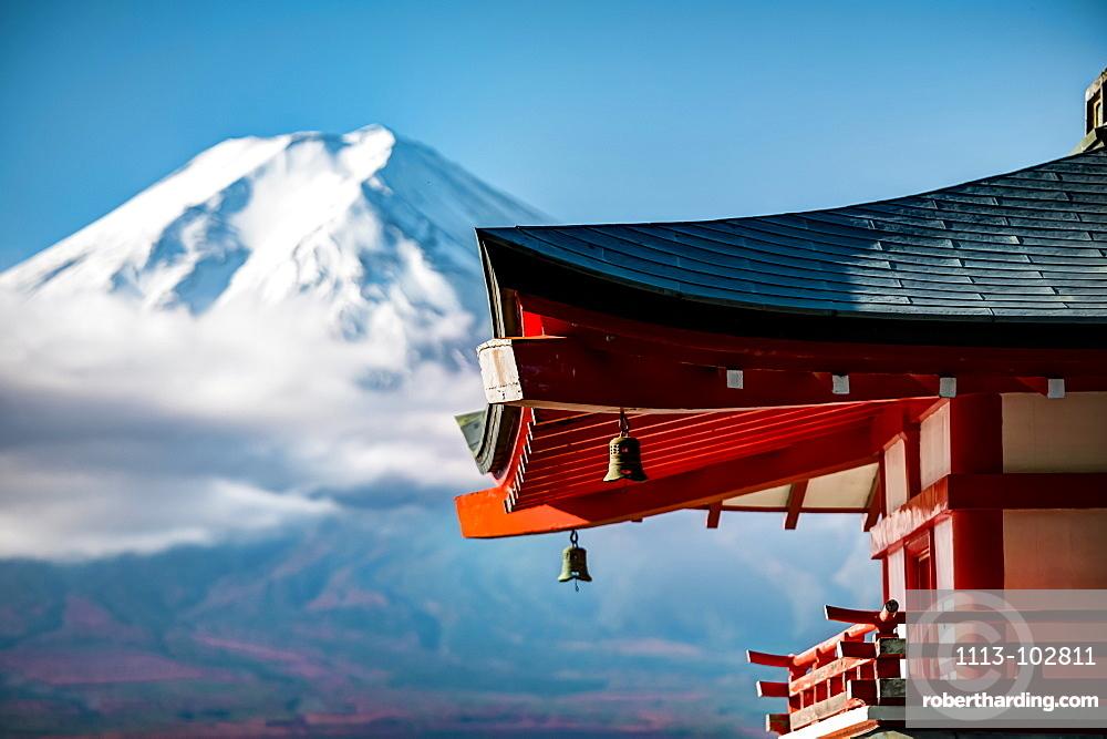 Close-up of Chureito Pagoda with Mt. Fuji out of focus in background, Fujiyoshida, Yamanashi Prefecture, Japan