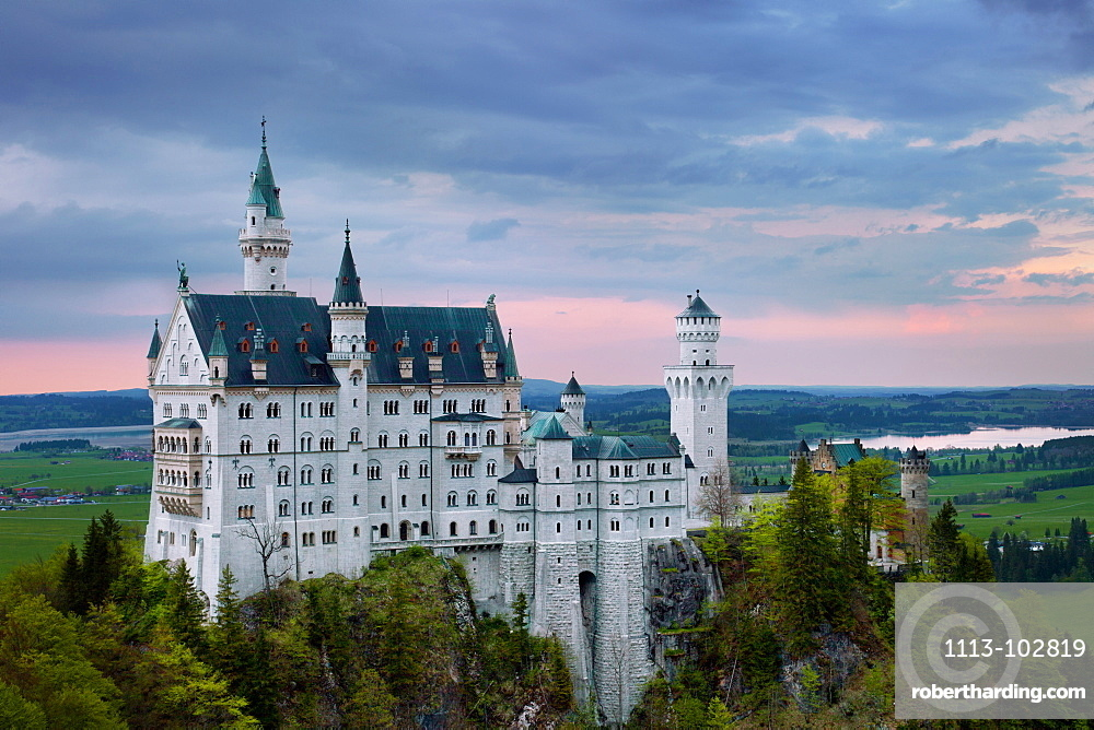 Sunset, Neuschwanstein Castle, Castle, Fairytale Castle, Bavaria, Germany