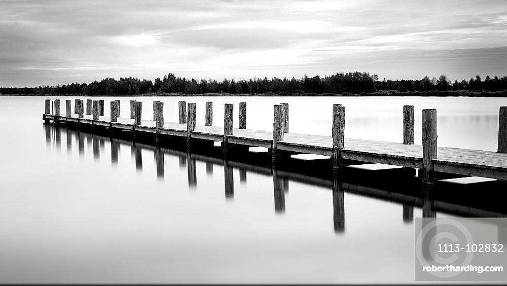 Lake, Reflection, Jetty, Long Exposure, Saxony-anhalt, Germany, Europe
