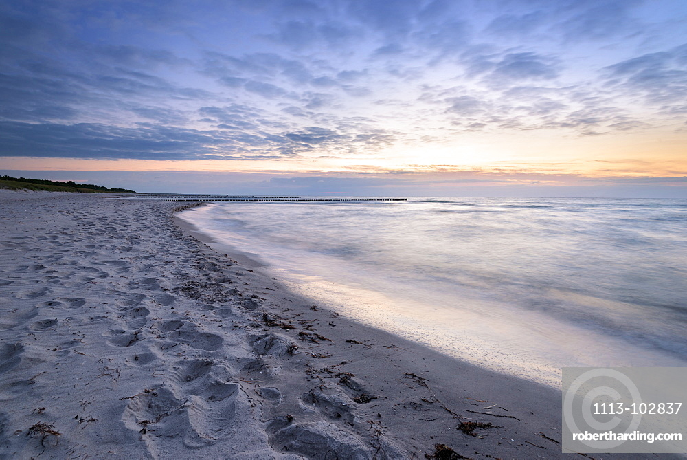 Summer, Beach, Dam, Sunset, Baltic Sea, Mecklenburg, Germany, Europe