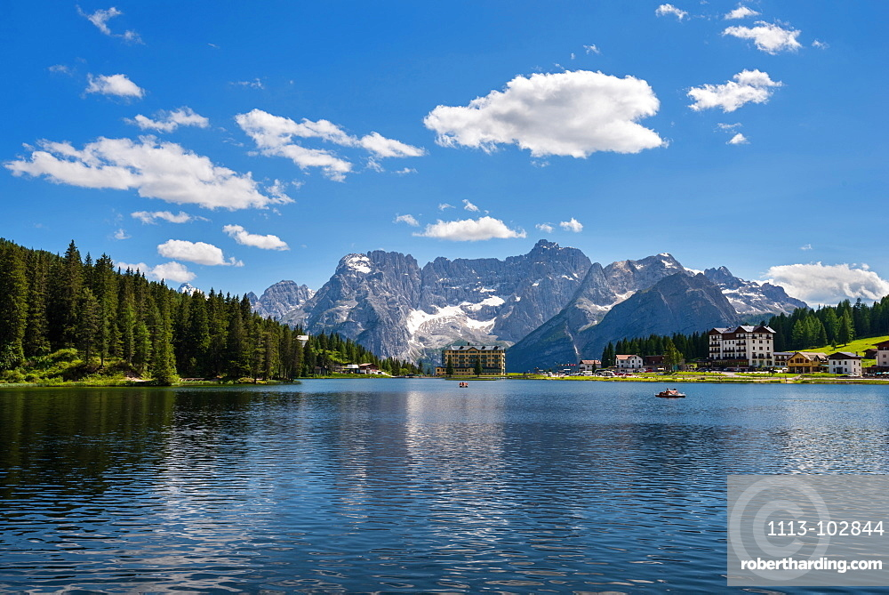 Misurina, Mountain Lake, Blue Sky, Summer, Dolomites, Alps, Italy, Europe