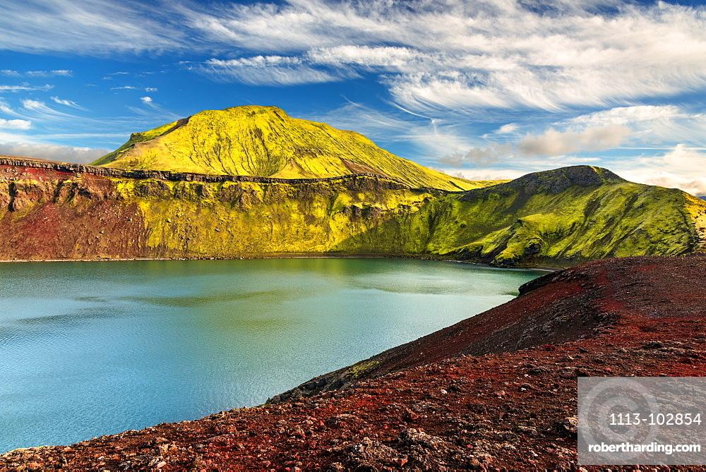 Hnauspollur, Crater, Lake, Mountains, Rhylolite, Volcano, Iceland, Europe