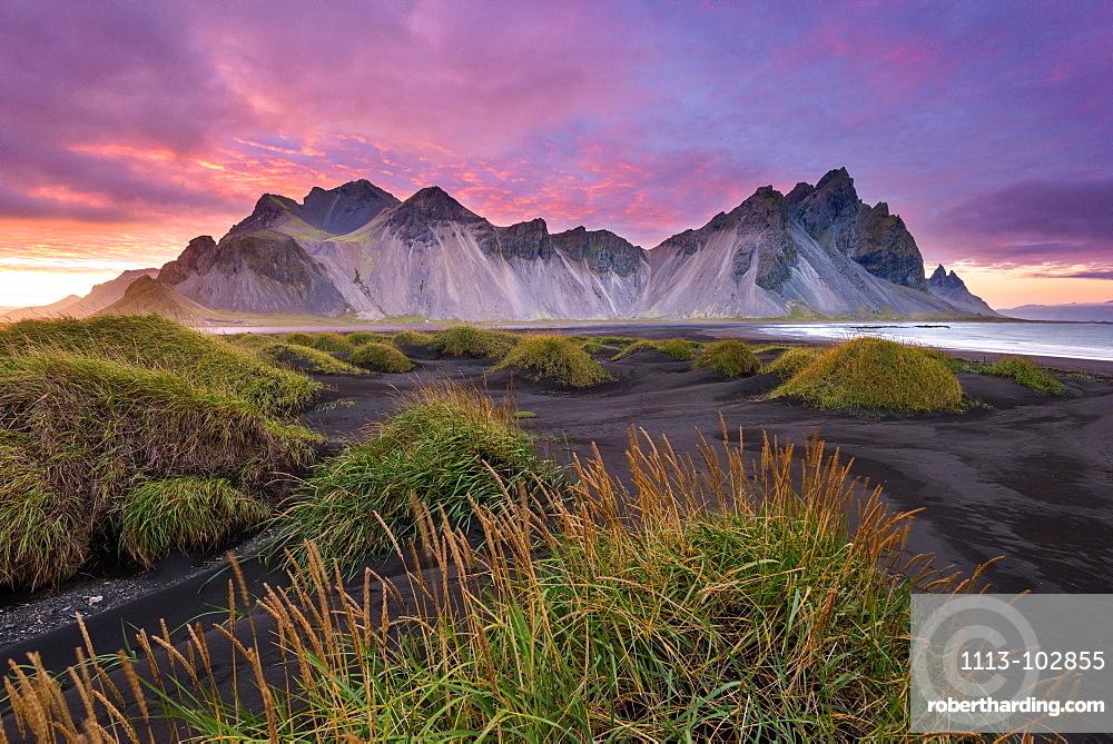Sunset, Vestrahorn, Stokksnes, Mountains, Beach, Iceland, Europe