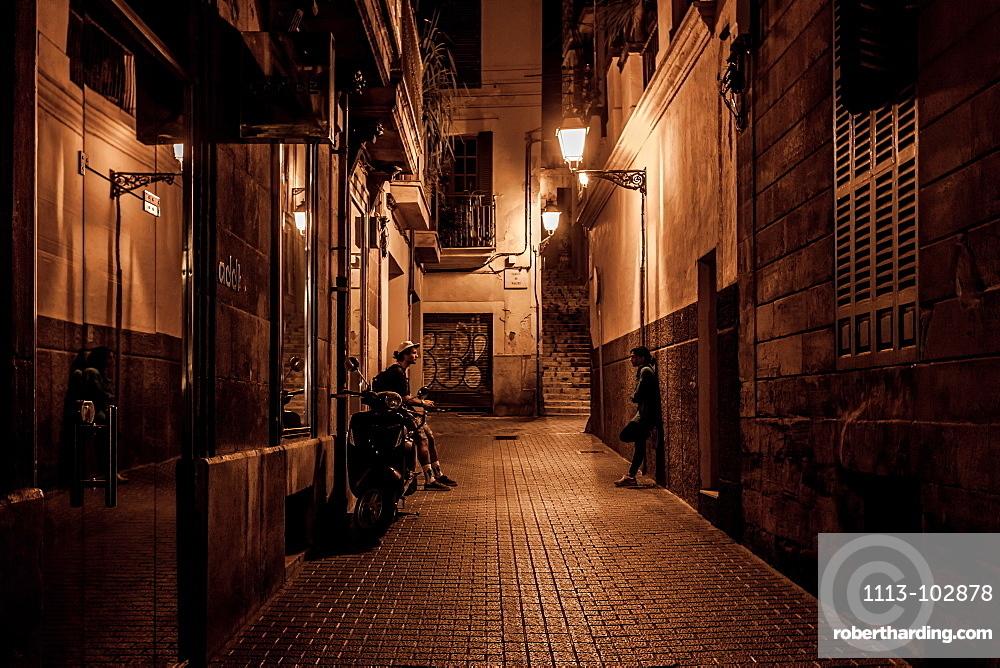 Small street Can dAnus near Placa Mercat, Palma Old town, Palma de Mallorca, Majorca, Balearic Islands, Mediterranean Sea, Spain, Europe