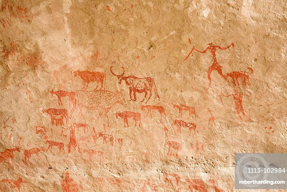 Prehistoric Rock Art, Tadrart Valley, Akakus mountains, Libya, Sahara, North Africa