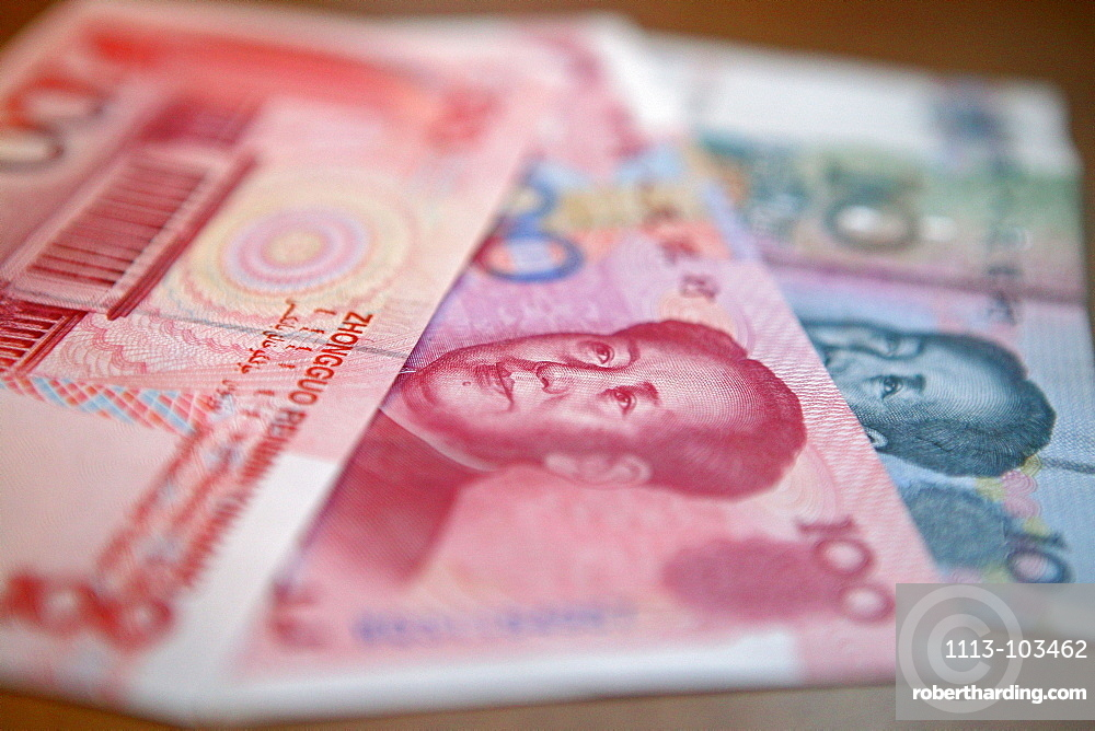 """Yuan, Renminbi (RMB) means """"The People's Currency"""", bank note, portrait of Mao Tse Tung"""