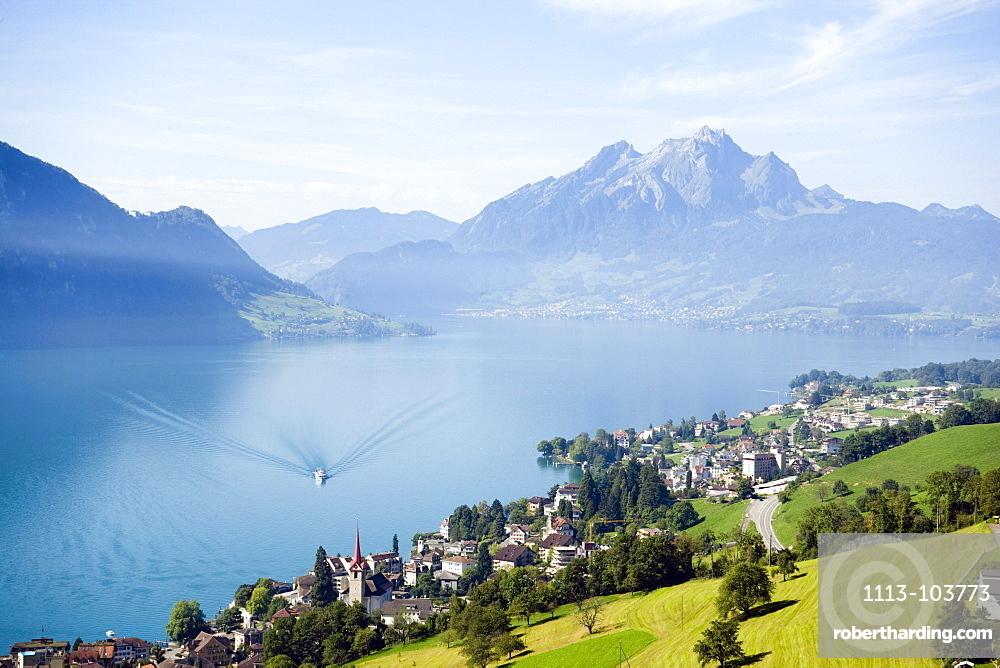 View over Weggis at Lake Lucerne to mountain Pilatus (2132 m) in the background, Weggis, Canton of Lucerne, Switzerland