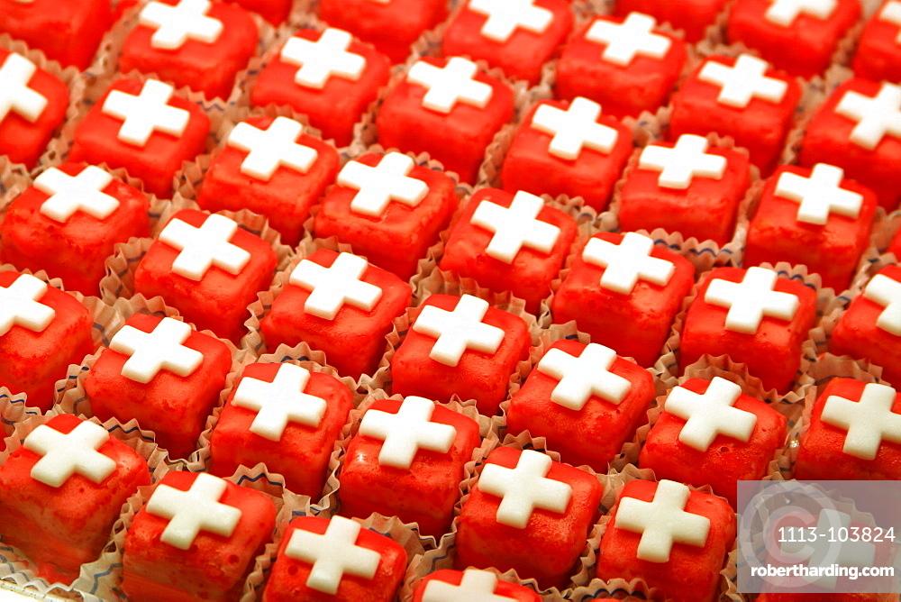 Switzerland, Zurich, redsweets with white swiss cross, 1, August