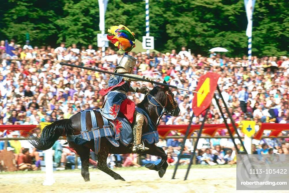 Knight throwing lance in target, Kaltenberger Ritterspiele, Upper Bavaria, Germany