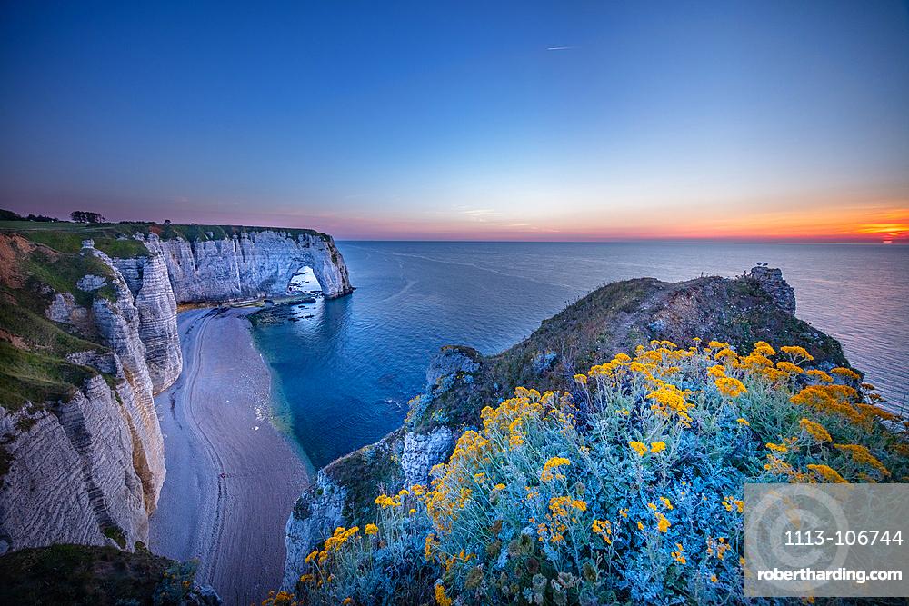 Manneporte rock arch on the Alabaster Coast near Étretat, Normandy, France.