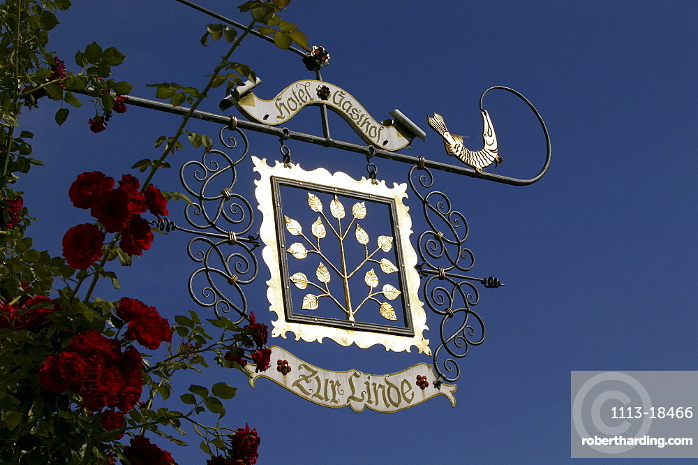 Hotel zur Linde, wrought iron sign, island of Frauenchiemsee, Lake Chiemsee, Bavaria, Germany