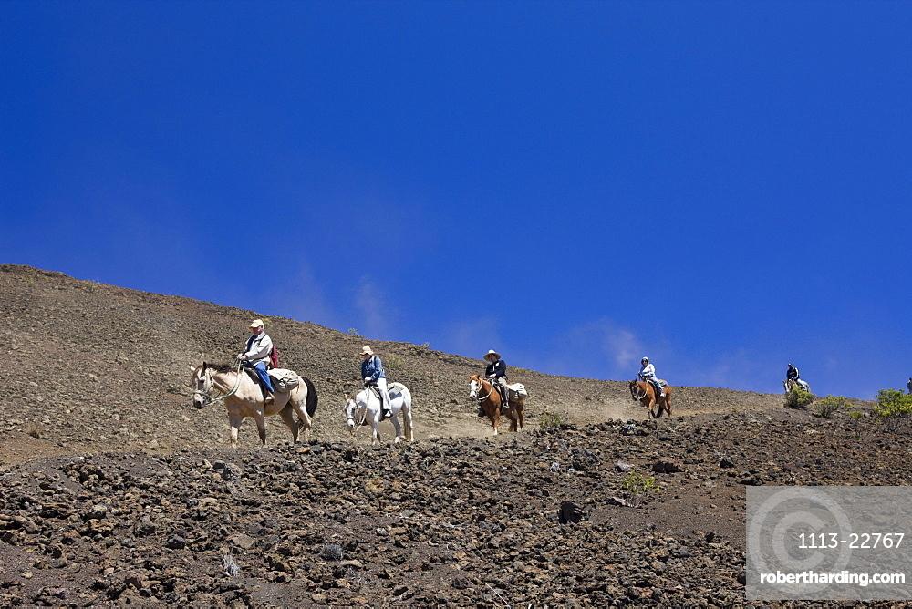 Horse Riding at Crater of Haleakala Volcano, Maui, Hawaii, USA