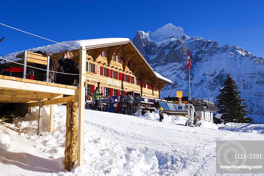 Exterior view of the mountain restaurant Bort, First, Grindelwald, Bernese Oberland, Canton of Bern, Switzerland