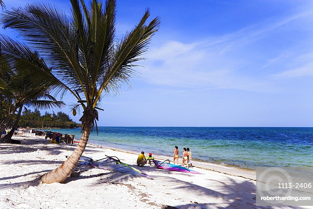 Tourists relaxing at Shanzu Beach, Coast, Kenya