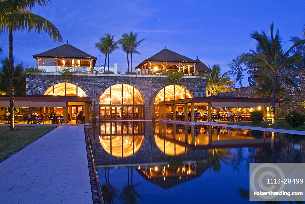 Resort Moevenpick at twilight, south coast of Mauritius, Africa