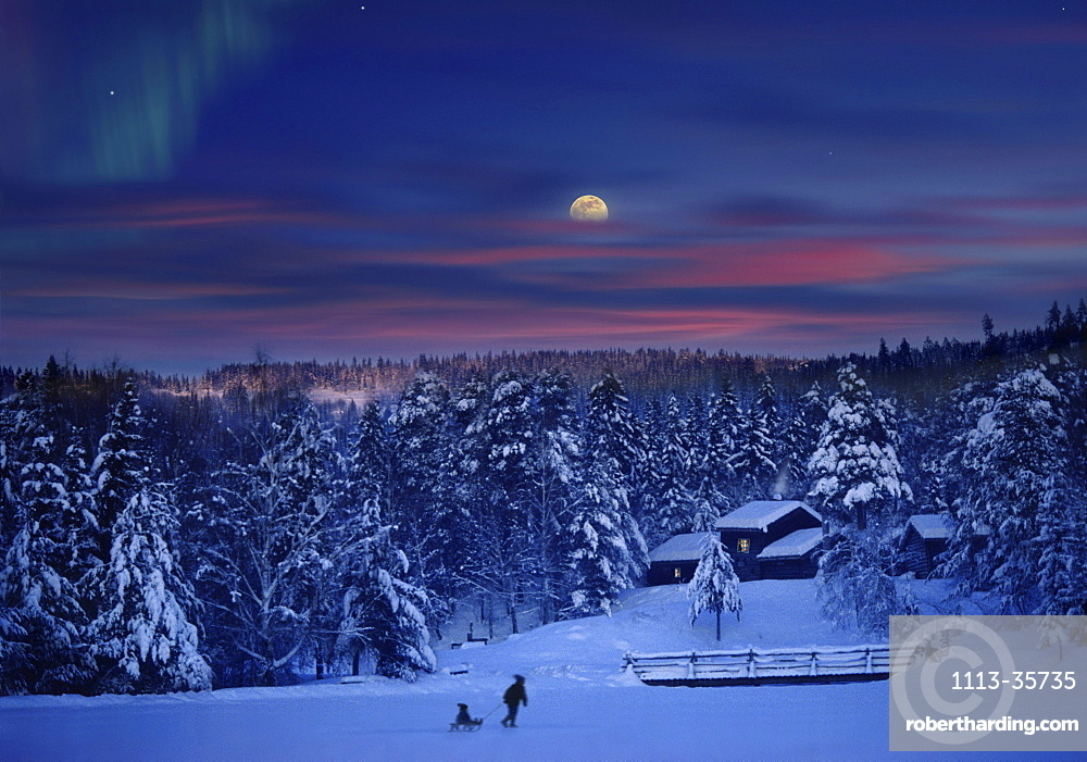 People in snow covered landscape at moonrise, Maihaugen, Lillehammer, Norway, Scandinavia, Europe