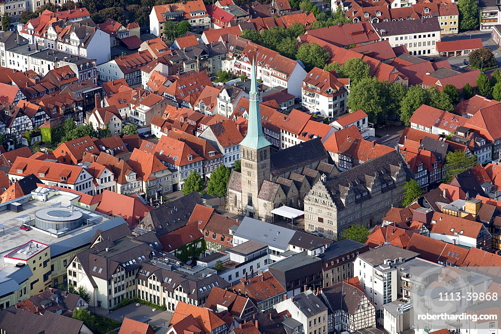 Aerial view of the historic old town of Hamelin, Hameln, Church of St Nicolai, Lower Saxony, Germany