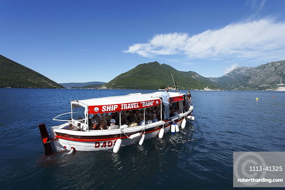 Excursion boat in the bay of Kotor, Perast, Montenegro, Europe