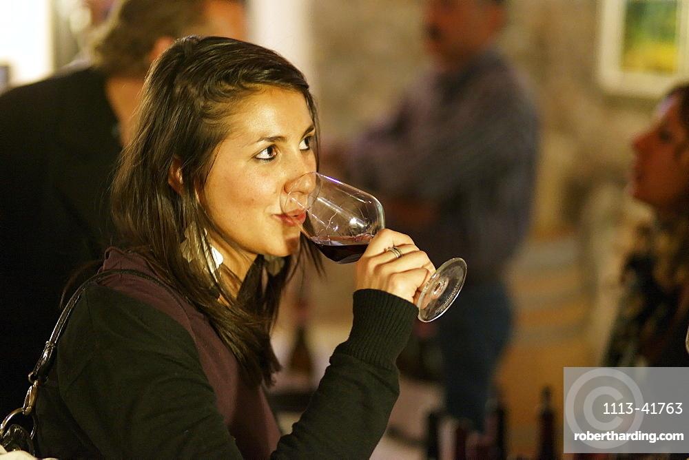 Woman Wine tasting, La Morra, Langhe, Piedmont, Italy