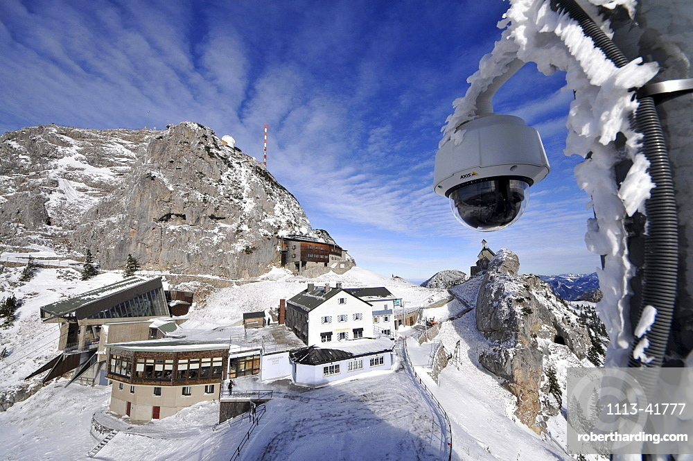 Webcam and houses on the Wendelstein, Winter in Bavaria, Germany, Europe