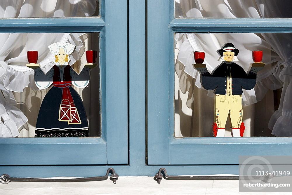Window decorations of a house in Nieblum, North Sea Island Foehr, Schleswig-Holstein, Germany