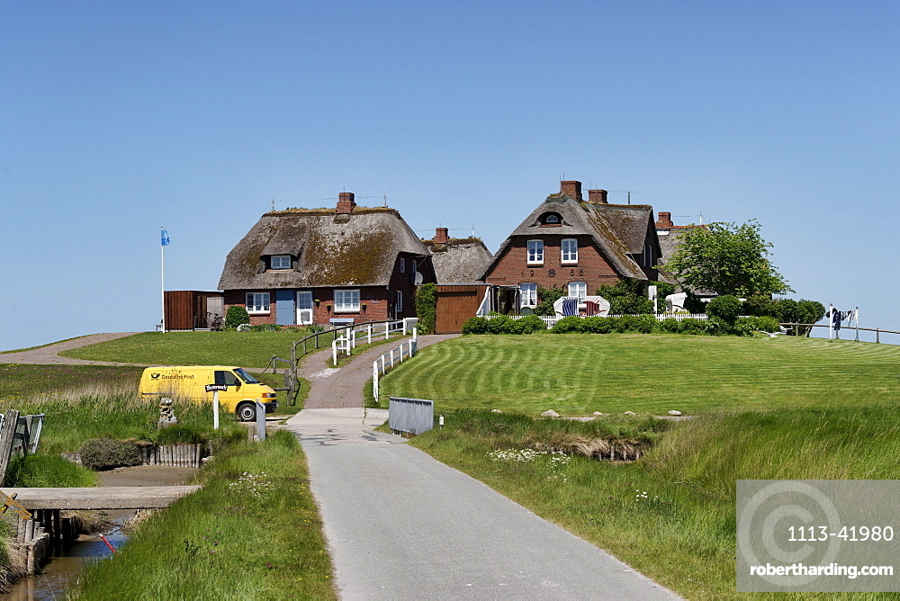 Westerwarft, Hallig Hooge, North Sea, Schleswig-Holstein, Germany