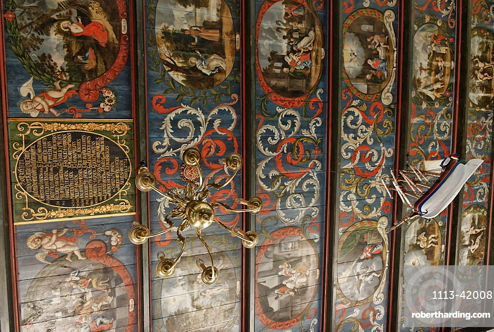 Wooden ceiling of the Hallig Church on the Kirchwarf, Hallig Langeness, North Sea, Schleswig-Holstein, Germany