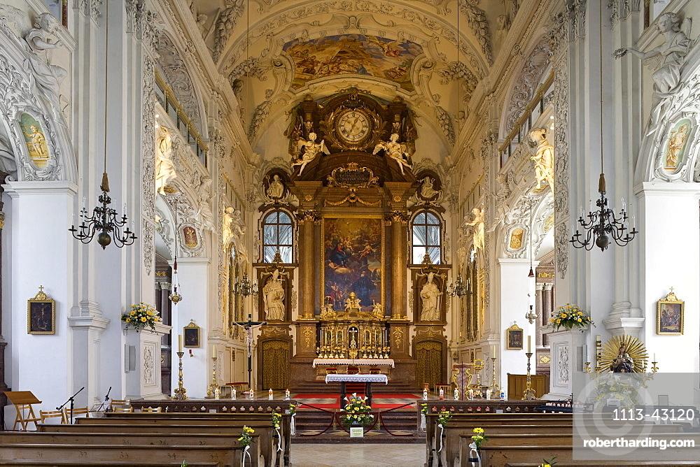 Interior view of abbey church of Benediktbeuern monastery, former Benedictine abbey, Benediktbeuern, Bavaria, Germany, Europe