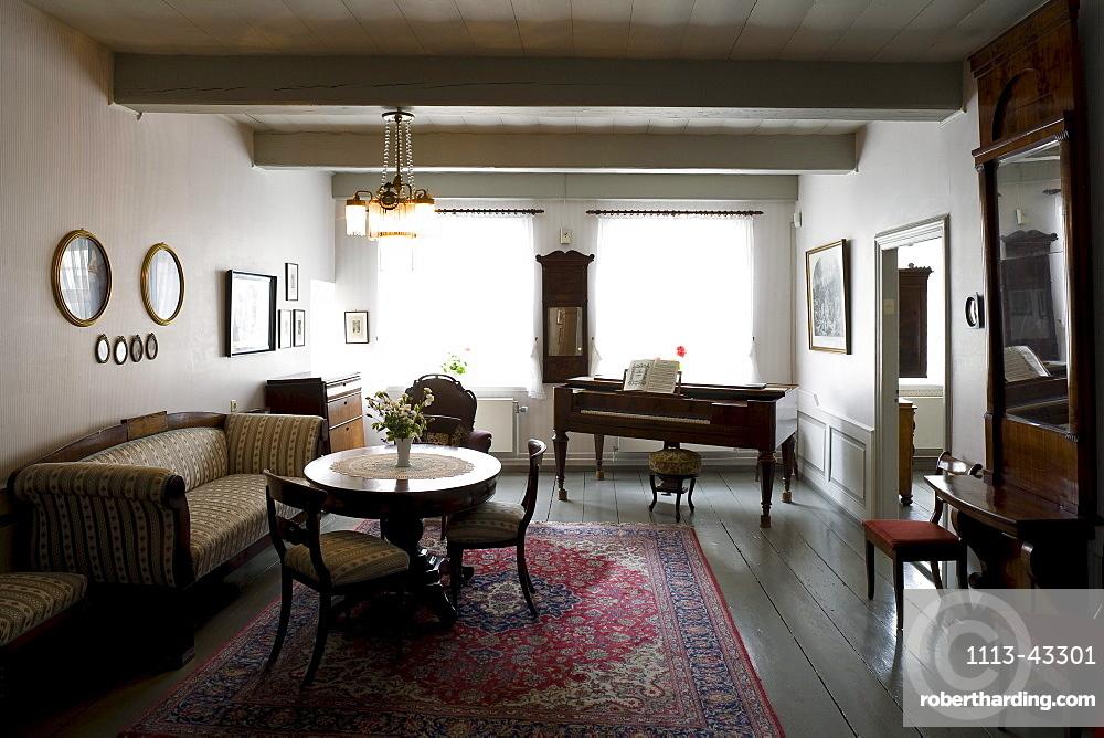Living room at Theodor-Storm-Haus, Husum, Nordfriesland, Schleswig-Holstein, Europe