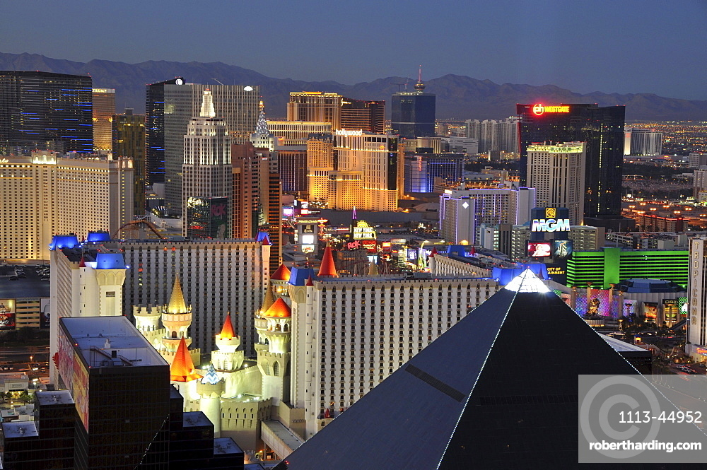 View from THE Hotel onto illuminated houses at night, Las Vegas, Nevada, USA, America