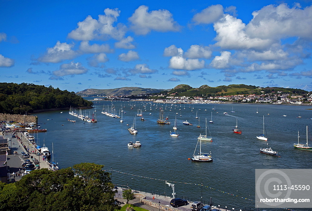 View from Conwy Castle over the River Conwy, Wales, UK