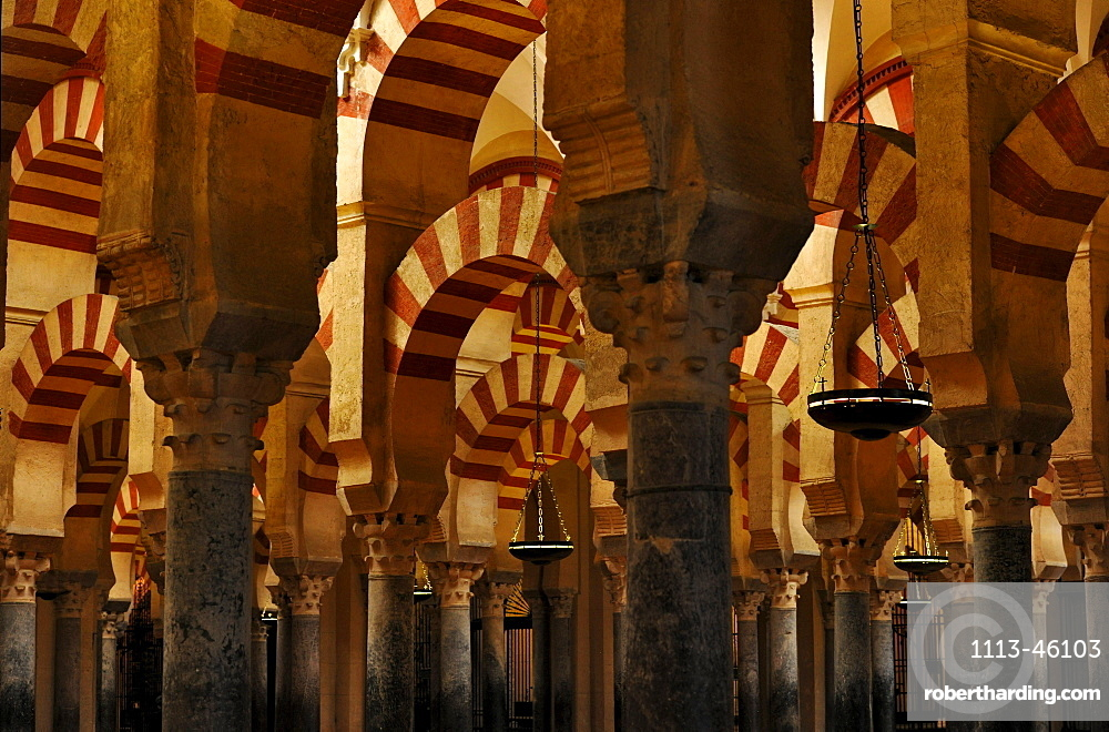 Columns inside of the cathedral La Mezquita, Cordoba, Andalusia, Spain, Europe