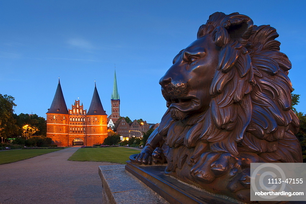 Holsten Gate and church of St Petri, Hanseatic city of Luebeck, Baltic Sea, Schleswig-Holstein, Germany