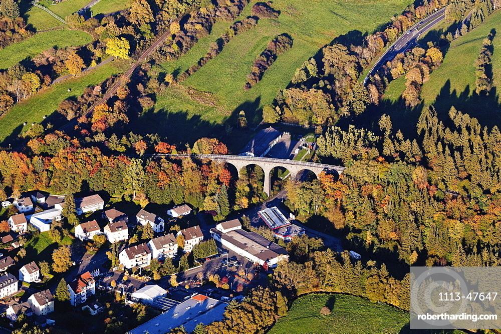 Aerial view of the town of Daun with railway viaduct, Daun, Rhineland Palatinate, Germany, Europe