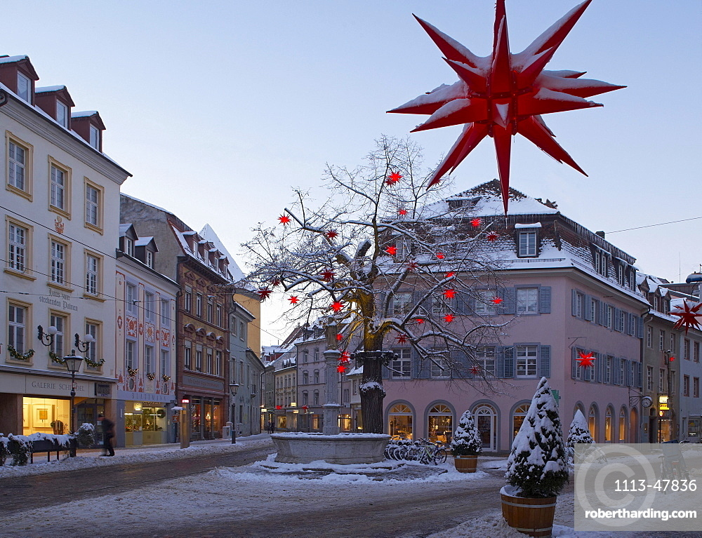 Oberlinden, Freiburg, Evening, Snow, Black Forest, Baden-Wuerttemberg, Germany, Europe