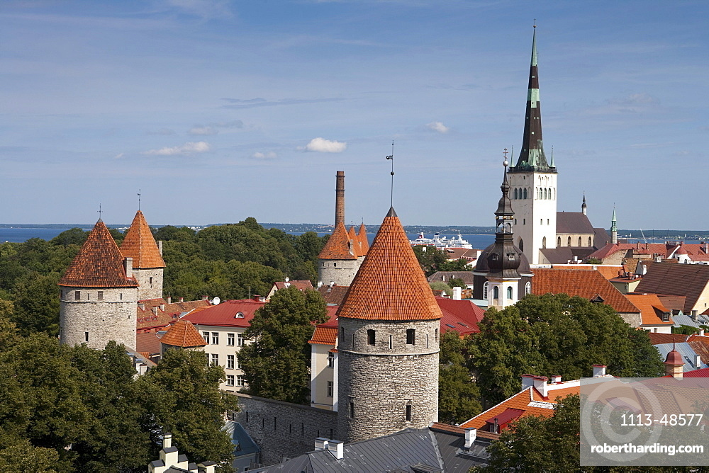Overhead of city with churches and towers from Toompea hill, Tallinn, Harjumaa, Estonia