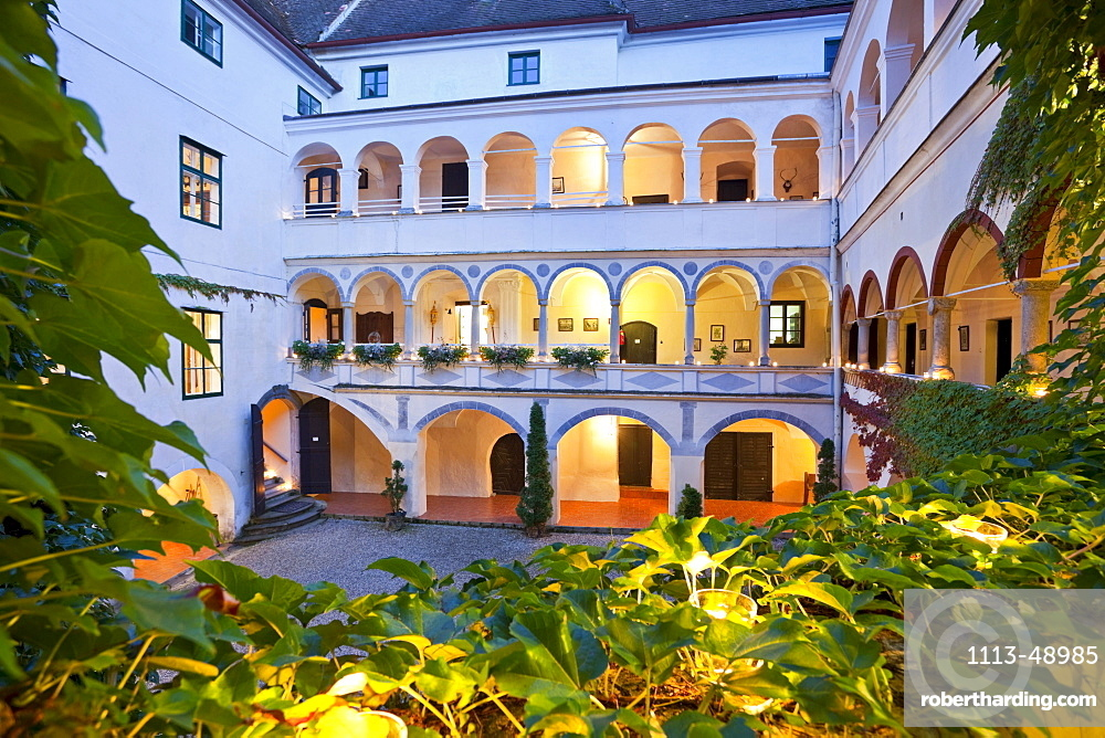 View of the inner courtyard of Ernegg castle in the evening, Lower Austria, Austria, Europe