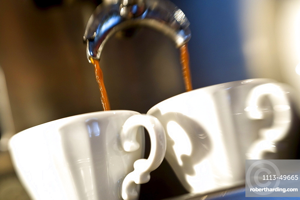 Close up of two coffee cups, Alto Adige, South Tyrol, Italy, Europe