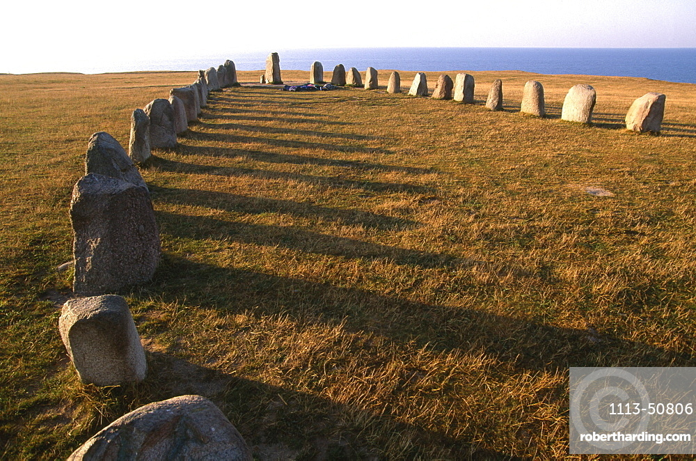 Stones on a meadow at the coast, Ales Stenar, Scania, Sweden