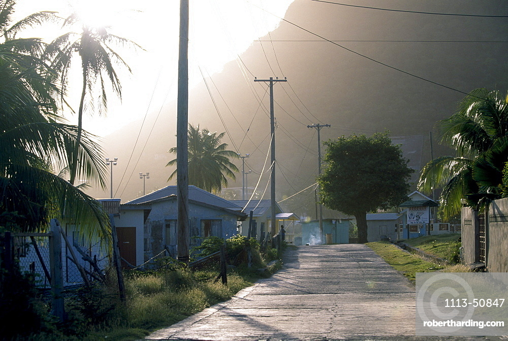 Empty village street of Ashton in the sunlight, Union Island, St. Vincent, Grenadines, Carribean