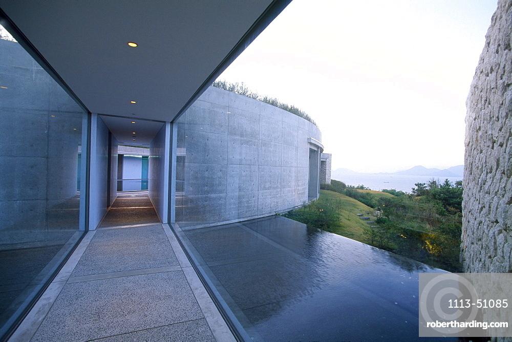 Exterior view of the Benesse House, Naoshima Contemp. Art Museum Japan, Museum of Contemporary Art, Naoshima, Japan